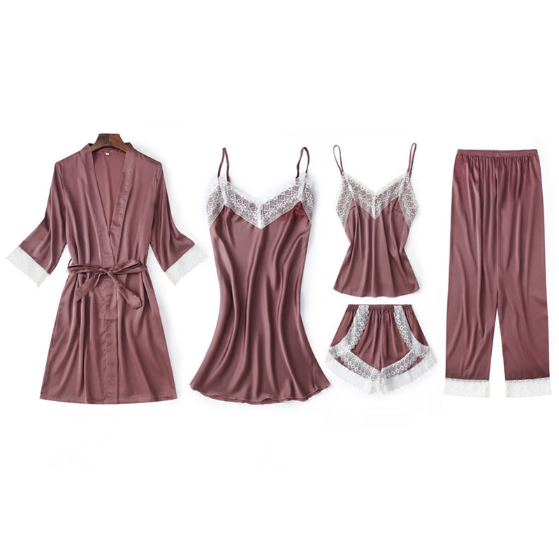 Image 3 - Fiklyc underwear five pieces women's pajamas sets luxury elegant lace & silk patchwork femme pijamas for woman mujer sleepwear-in Pajama Sets from Underwear & Sleepwears