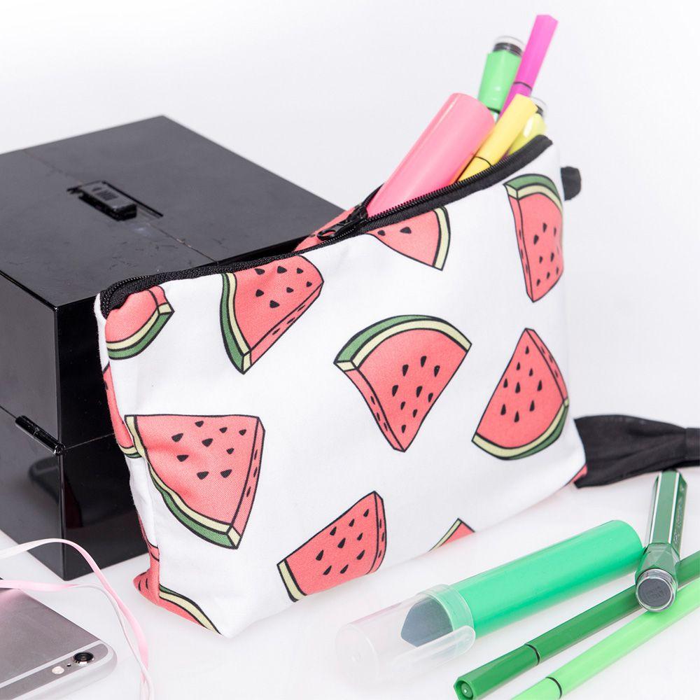 1 Pc 3d Gedrukt Watermeloen Patroon Polyester Cosmetische Bag Reizen Toilettas Draagbare Make Handtas 22*18*13.5 Cm