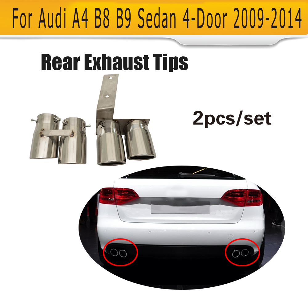 Quad Exhaust Dual Outlet Car Exhaust Tips Muffler End Pipes for Audi A4 B8 B9 09-14  Non Sline deep cut exhaust muffler tips for harley bagger touring pipes 4