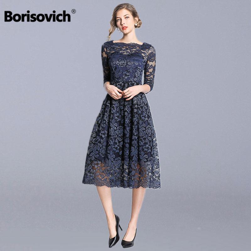 Borisovich Women Casual Lace Long Dress New Brand 2019 Spring Fashion Big Swing A line Elegant