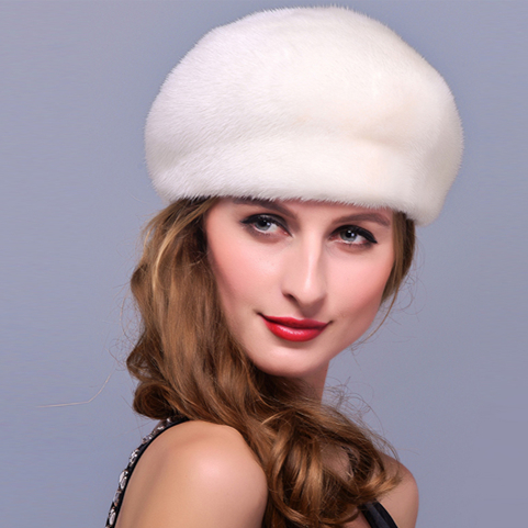 114d6a87a8f HM005 Real genuine mink fur hat winter women s warm caps whole piece mink  fur hats-in Baseball Caps from Women s Clothing   Accessories