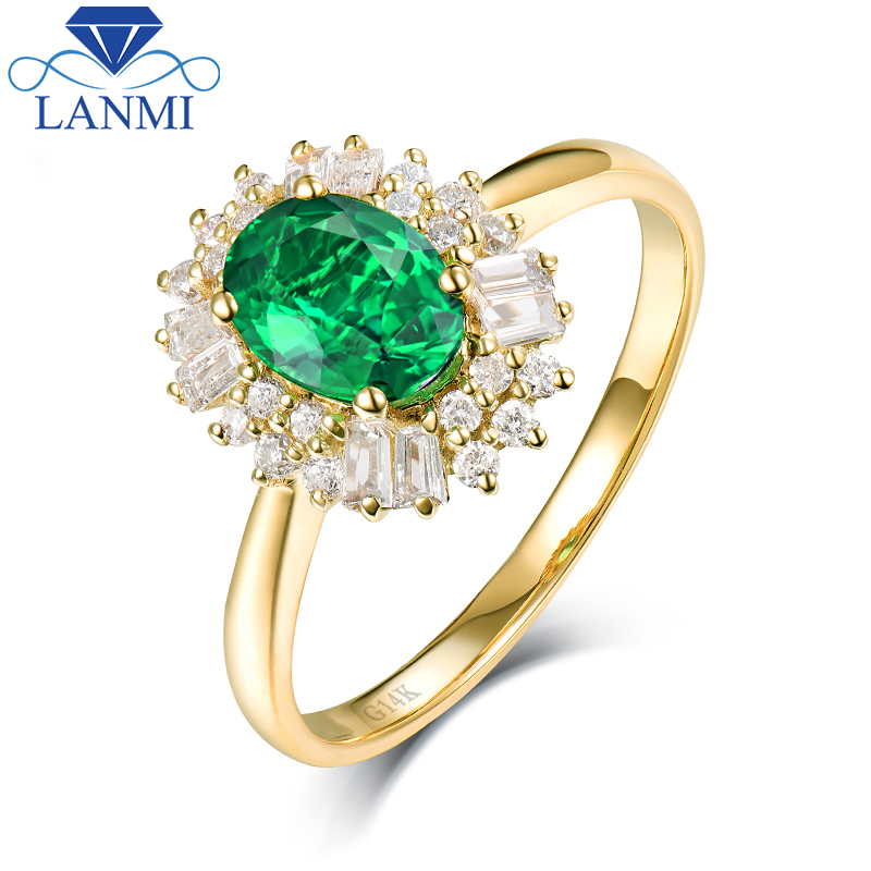 Fine Jewelry Real 14K Yellow Gold Colombia Emerald Ring Natural