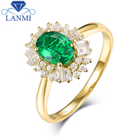 Fine Jewelry Real 14K Yellow Gold Colombia Emerald Ring Natural Diamond for Men and Women Party
