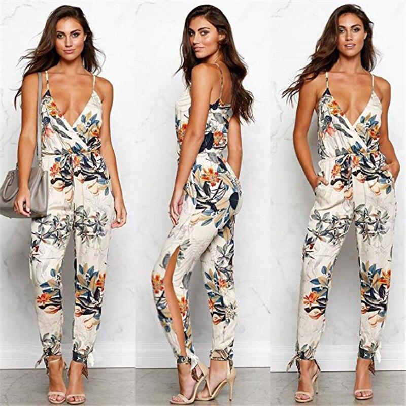 Sexy Strap Deep V Neck Print Lace Up   Jumpsuit   2019 Summer Women Clothes Casual Slim Long Romper Female Streetwear Plus Size 3XL