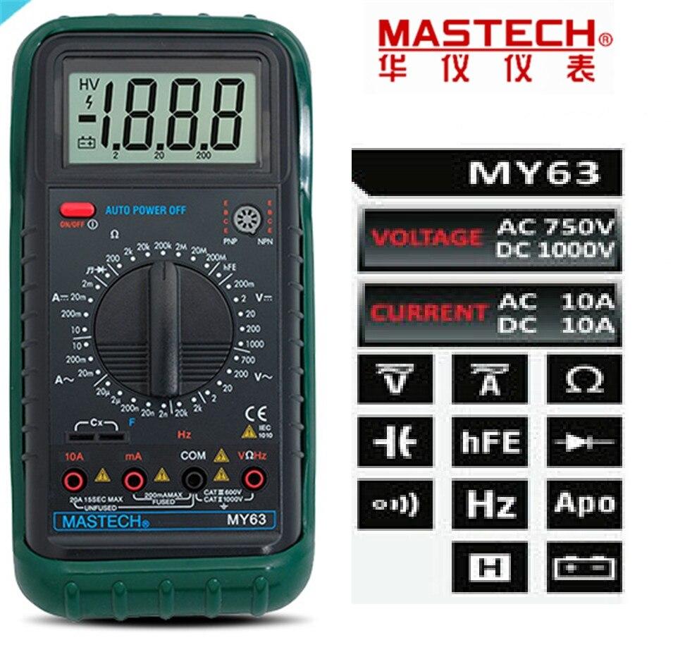 MASTECH MY63 Digital Multimeter 2000 counts DMM w/Temperature Capacitance & hFE Testers Meters Ammeter Multitester digital multimeter mastech ms8264 dmm temperature capacitance tester multimeter handheld ammeter multitester