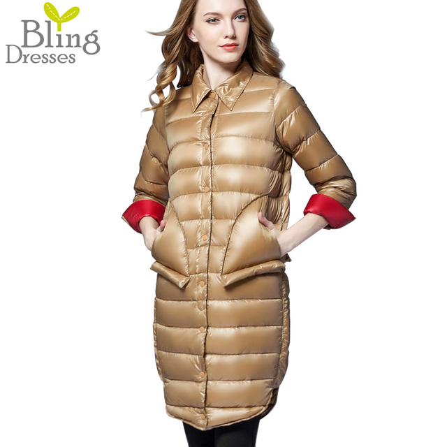 New Outono Inverno 2016 Moda Colarinho da Camisa Solta Manga Longe 90% Pato Branco Down Jacket Único Breasted Outerwear Casuais