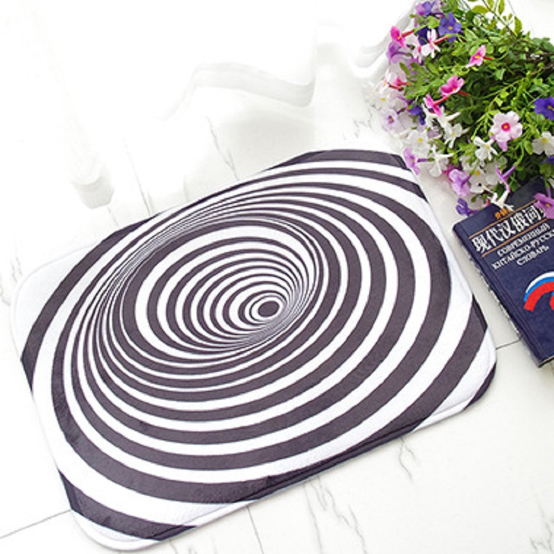 Vortex Flannel Carpet Area Rug for Living Room Non-slip Door Mats <font><b>3D</b></font> Carpets Black And White Rug Carpets For Parlor <font><b>tapete</b></font> 50x80 image