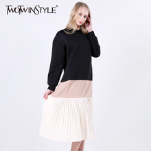 [TWOTWINSTYLE] 2017 Spring Patchwork Pleated Long Sleeve Loose Hit Colors Pullovers Ladies Dresses Women New Fashion Clothing