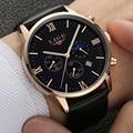 2017 LIGE Mens Relógios Moda Casual Relógios de Quartzo Relógio Do Esporte relógio de Pulso Relógio de Homem de Negócios De Couro Dos Homens Chronograp Relogio masculino