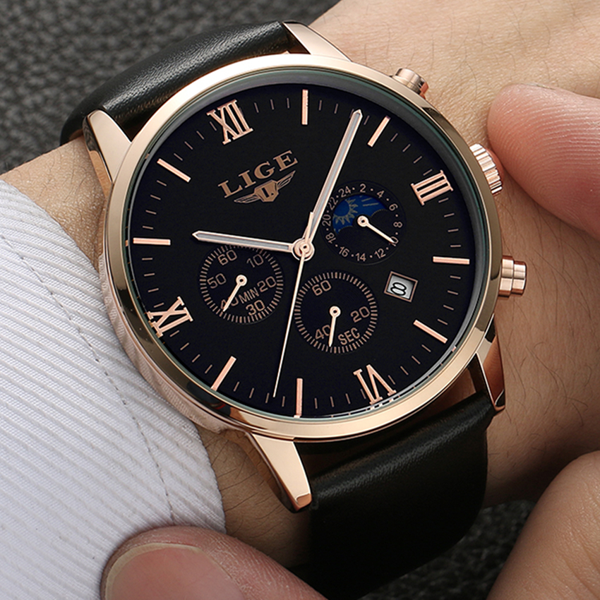 2017 LIGE Mens Watches Fashion Casual Sport Quartz Watch Men Chronograp Clock Man Leather Business Wrist watch Relogio Masculino