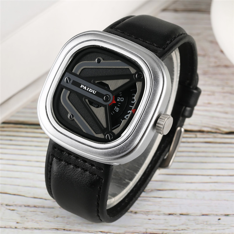Creative Watch Case Quartz Watch Movement For Men Women High-tech Sense Analog Wrist Watches Leather Watch Band Student Clock