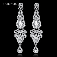 New Arrival Top Quality Luxurious Romantic Chandelier Crystal Bridal Earrings White K Plated Long Earrings For