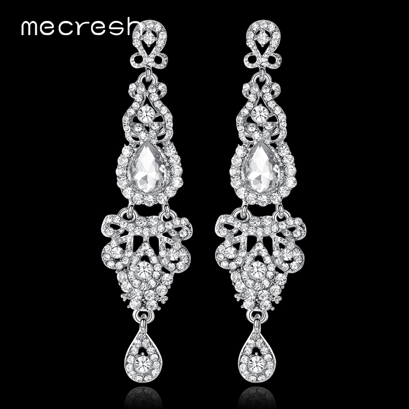 Mecresh Long Crystal Silver Women Wedding Earrings Jewelry