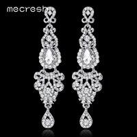 Mecresh Kristallen Lange Oorbellen voor Vrouwen Zilver/Zwart/Goud Kleur Kroonluchter Bridal Dorp Oorbellen Wedding Engagement Sieraden EH162