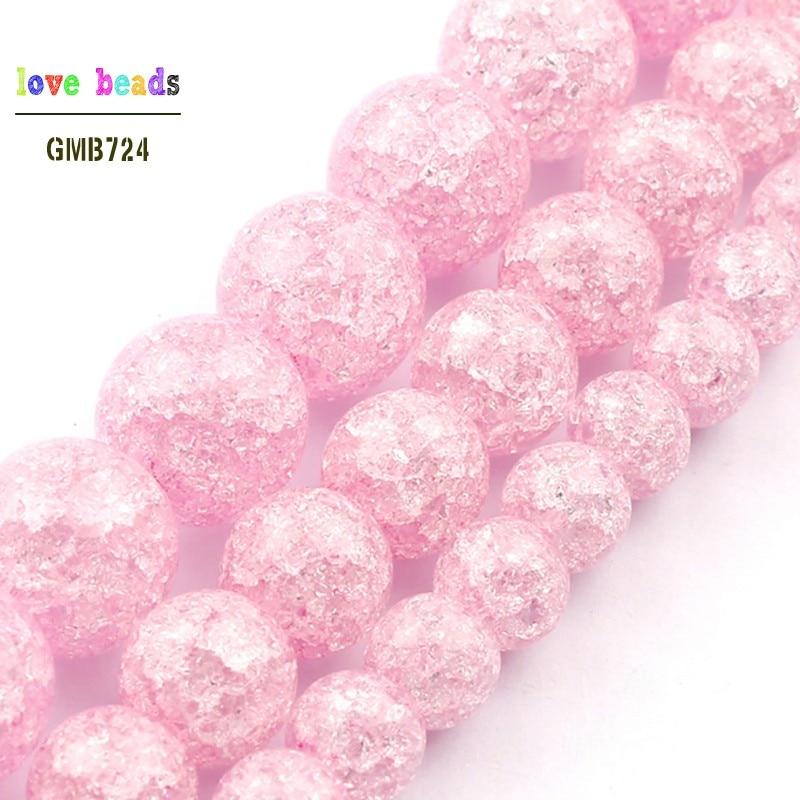 Cuentas de piedra Natural de cuarzo agrietadas para fabricación de joyas, abalorios redondos de cristal de 6, 8 y 10mm, pulsera Diy, venta al por mayor
