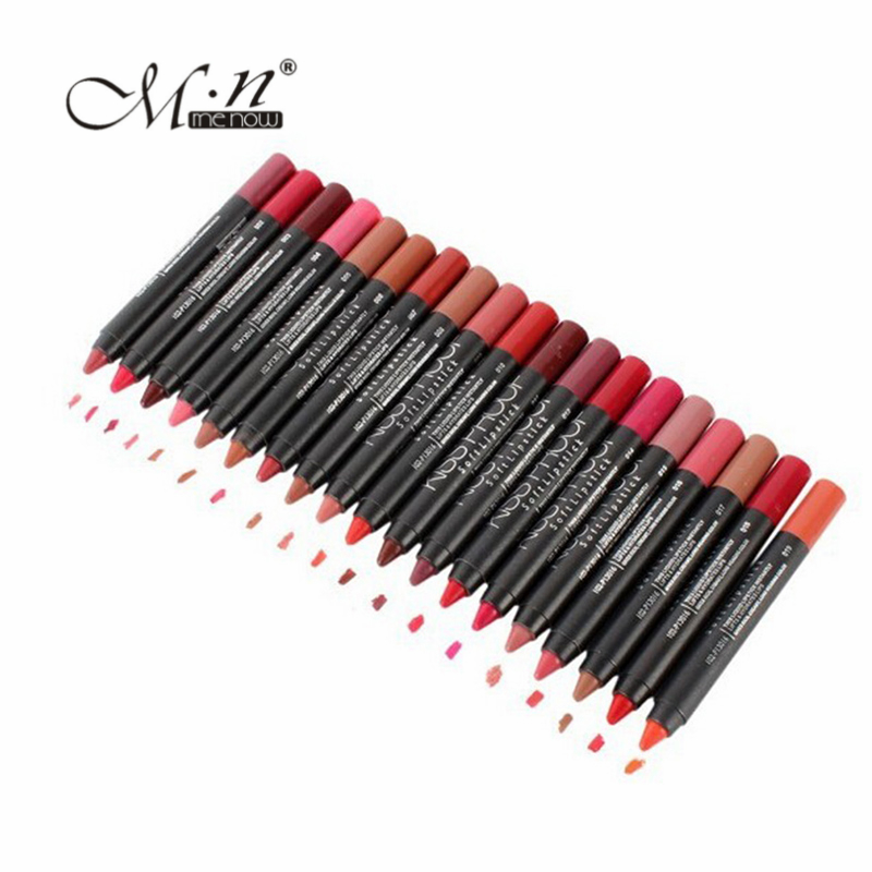 19Pcs / lot MENOW Makeup Matte Kiss Proof Läppstift Långvarig Effekt Pulverformig Mjuk Vattenbeständig Matt Lipsticks Lip Pencil Crayon