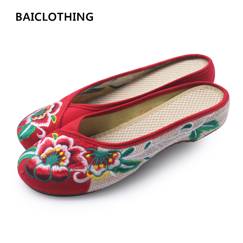 BAICLOTHING women cute chinese vintage style embroidered cloth shoes lady cute retro slip on sandal shoes female cool flat shoes vintage embroidery women flats chinese floral canvas embroidered shoes national old beijing cloth single dance soft flats