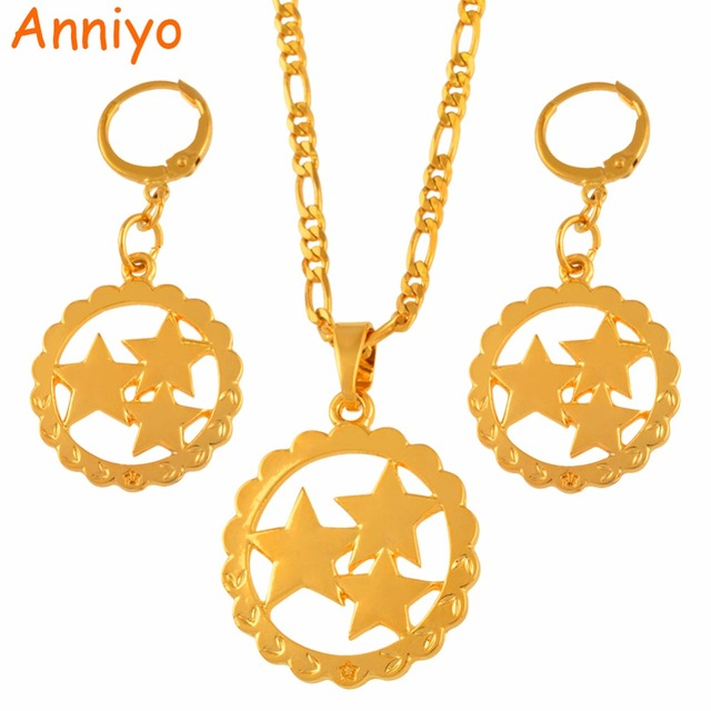 b463d19f0 Anniyo Three Stars Pendant Necklaces Earrings sets Mom Gifts Gold Color  Star Jewelry Mama Birthday Gift