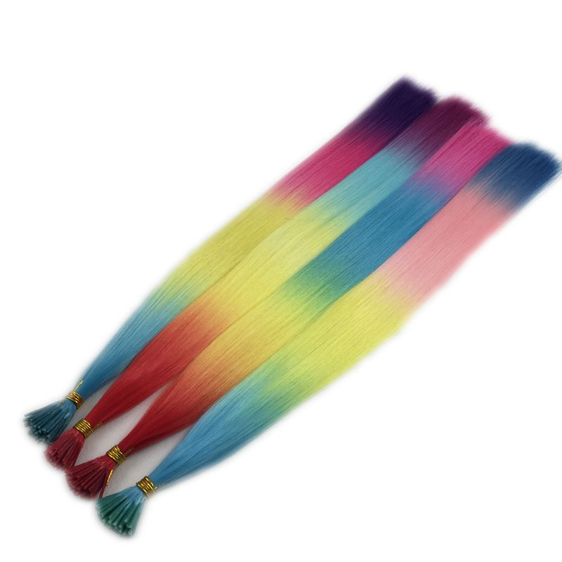 rainbow color synthetic i tip hair extensions24