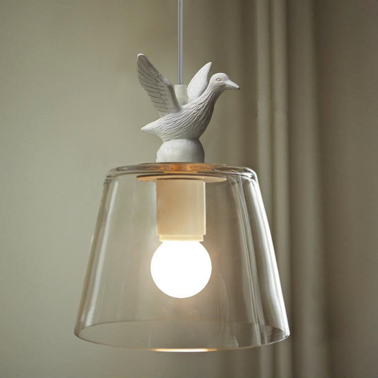 Modern White Resin Duck Corridor Pendant Light American Country Rustic Glass Shade Hallway Balcony Bar Counter Pendant Lamp
