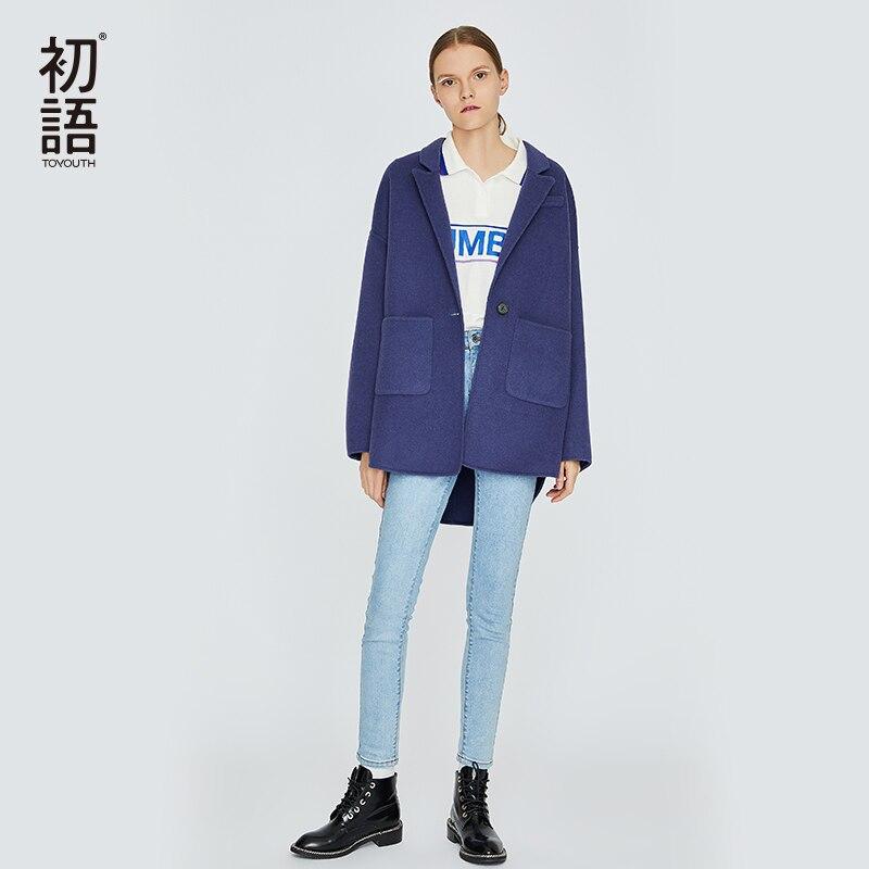 Toyouth зима Для женщин плотные пальто Повседневное шерстяной подкладкой верхняя одежда; куртки теплые Blend Pocket пальто Abrigo Mujer Черная Куртка Нов