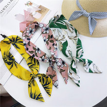 39Patterns Print Handkerchief Scarf for Women Head Bandage Silk-like Ladies Bandana 5*90cm Plaid Scarves Hat Accessories(China)