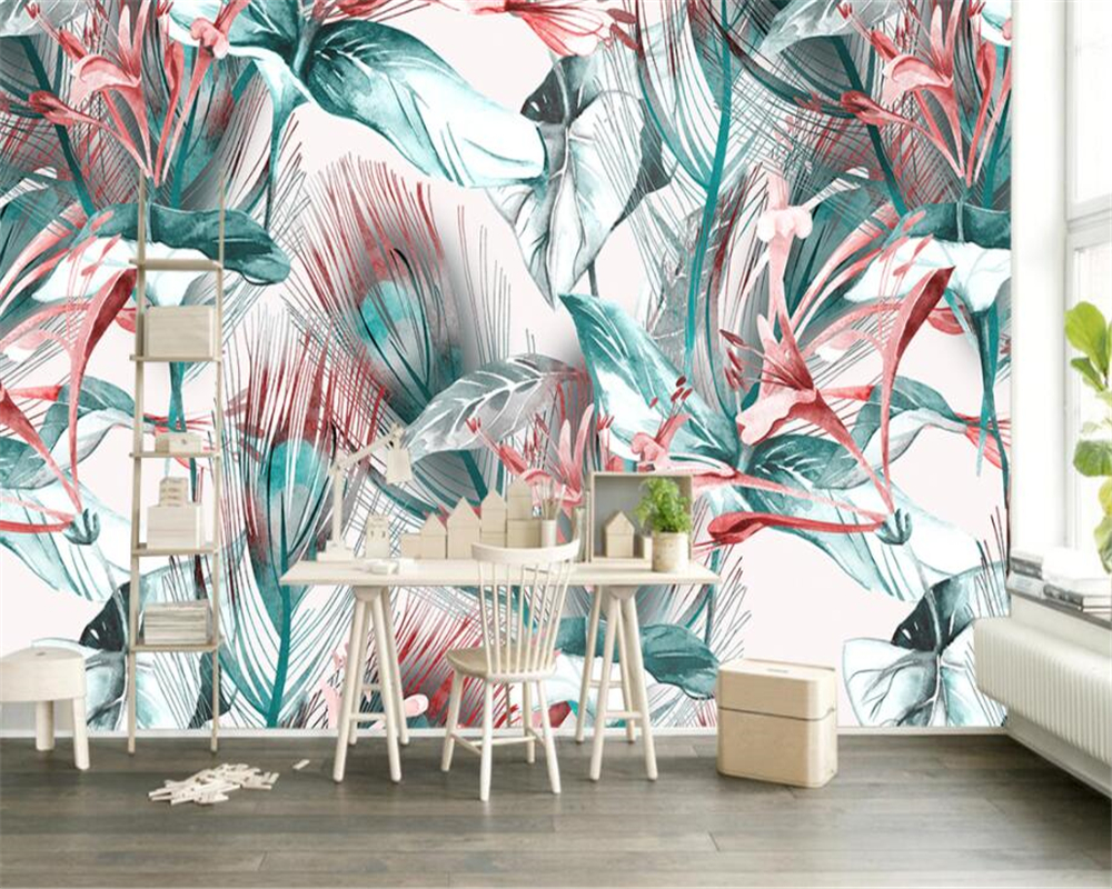 Wallpapers Search For Flights Beibehang Papel De Parede Customized Photo Wallpaper Mural Modern Hand Painted Tropical Plants Leaves Wallpaper For Walls 3 D Fine Quality
