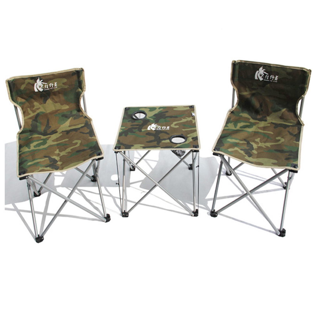 New Arrival Outdoor Camping Foldable Portable 2 Person Use 2 Chairs 1 Table One Set Leisure Garden Folding Chair