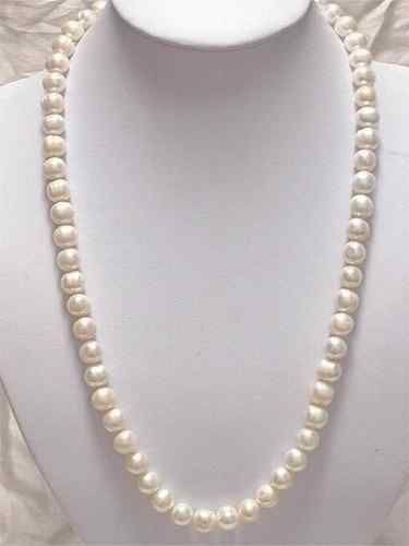 "2016 (mini order 1)Charming! 8-9mm White Akoya Cultured Pearl Necklace 25"" Beads Jewelry Natural Stone Valentine's Day Gift"