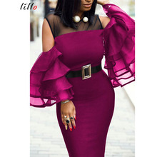 Plus size African summer party dress women's new perspective sexy tight-hip fitting dress mesh trumpet sleeve stitching sexy dre mesh shoulder form fitting dress