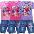 2017 Verão Meninas Roupas Set Papoula Trolls T-shirt + Shorts Jeans Para Meninas Do Bebê Traje de Algodão Tees Crianças Tops Para crianças