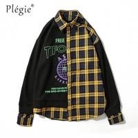 Plegie Patchwork Check Shirt Long Sleeve Vintage Loose Hip Hop Checked Casual Plaid Shirt 2018 Fashion Streetwear Mens Clothing