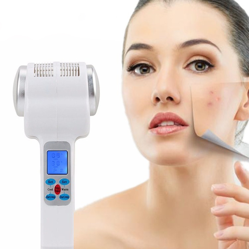 Free Shipping Hot Cold Hammer Cryotherapy Warm Ice Heating Facial Skin Lifting Tighten Anti-aging Face Spa Shrink Pore Massager