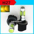 2X7.5 W 12 V H27 xenon led branco/amarelo 3000 K COB H27 880/1 levou Chip de nevoeiro auto lâmpada led styling acessório lente do projetor de halogéneo