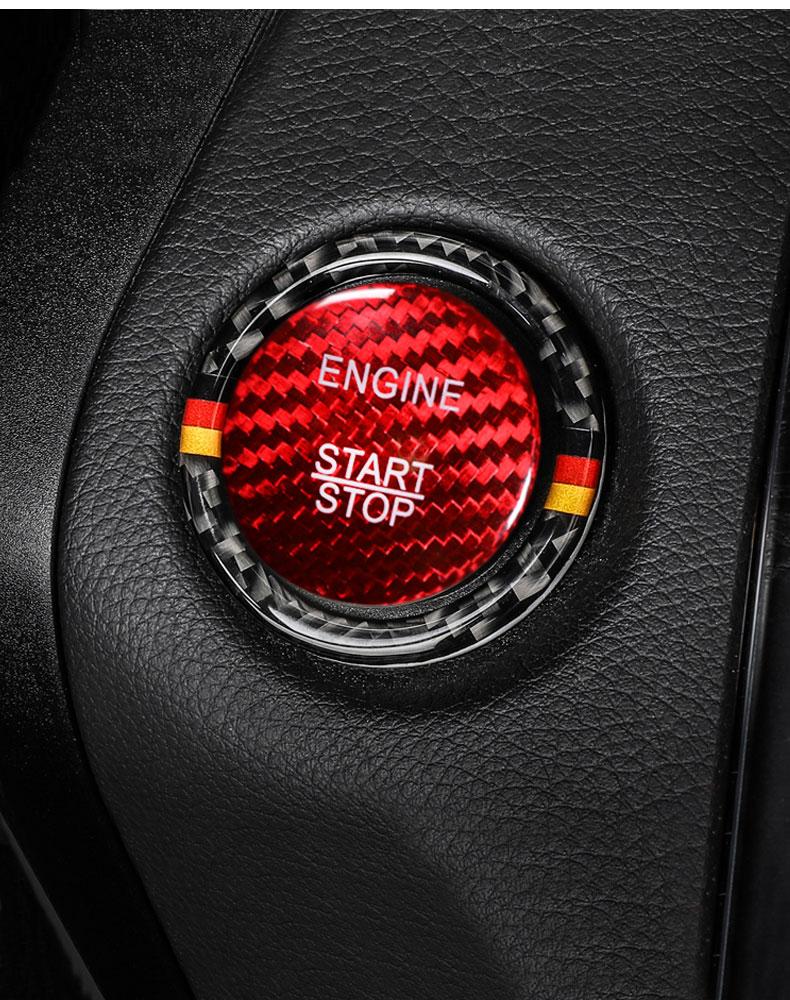 Bright Red Carbon Fiber Sticker Decal for Mercedes Benz C Engine Start Button