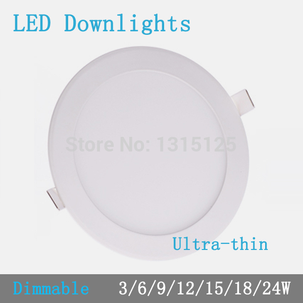 Thickness 3W/6W/9W/12W/15W/18W/24W round dimmable LED downlight  emergency LED panel / painel light lamp for bedroom luminaire