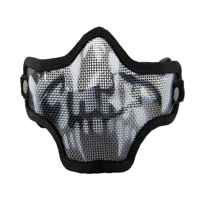 CQC Cool Tactical Airsoft Skull Metal Wire Mesh Lower Half Face Protective Mask Outdoor CS Hunting Halloween Party Skeleton Mask
