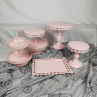 5 11pcs Weeding cake stand pink cupcake tray lace edge cake tools home decoration dessert table decoration