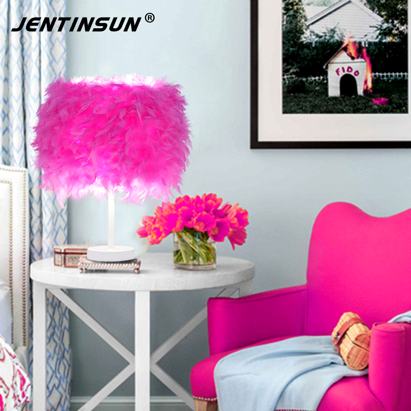Creative European Style LED White Light Feather Table Lamp Fashion ...