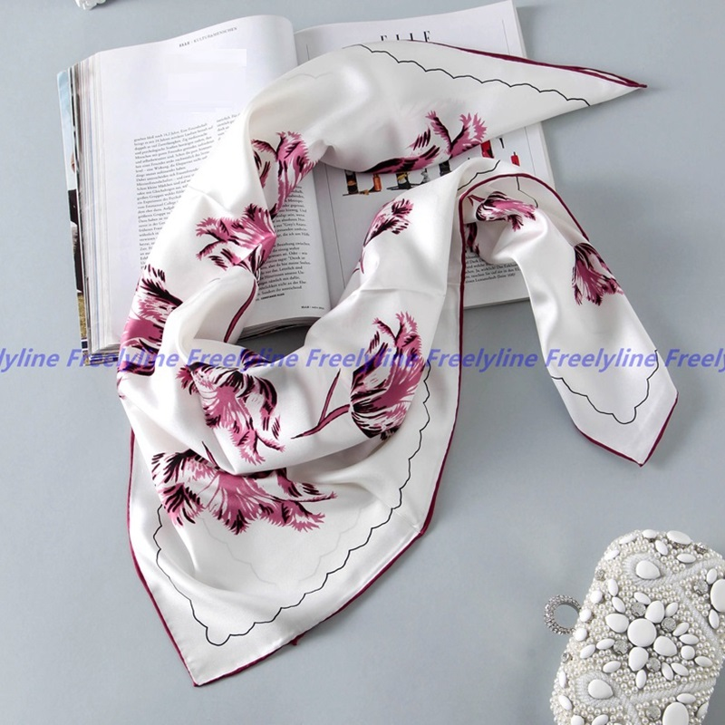 Thicken Floral Printed 100% Silk Twill Scarf Bandana Hijab Square Silk Scarf Women 90 Lady Top Grade Silk Scarves & Wraps Shawl