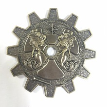 Gear Shape Antique Plating Military Challenge Coin