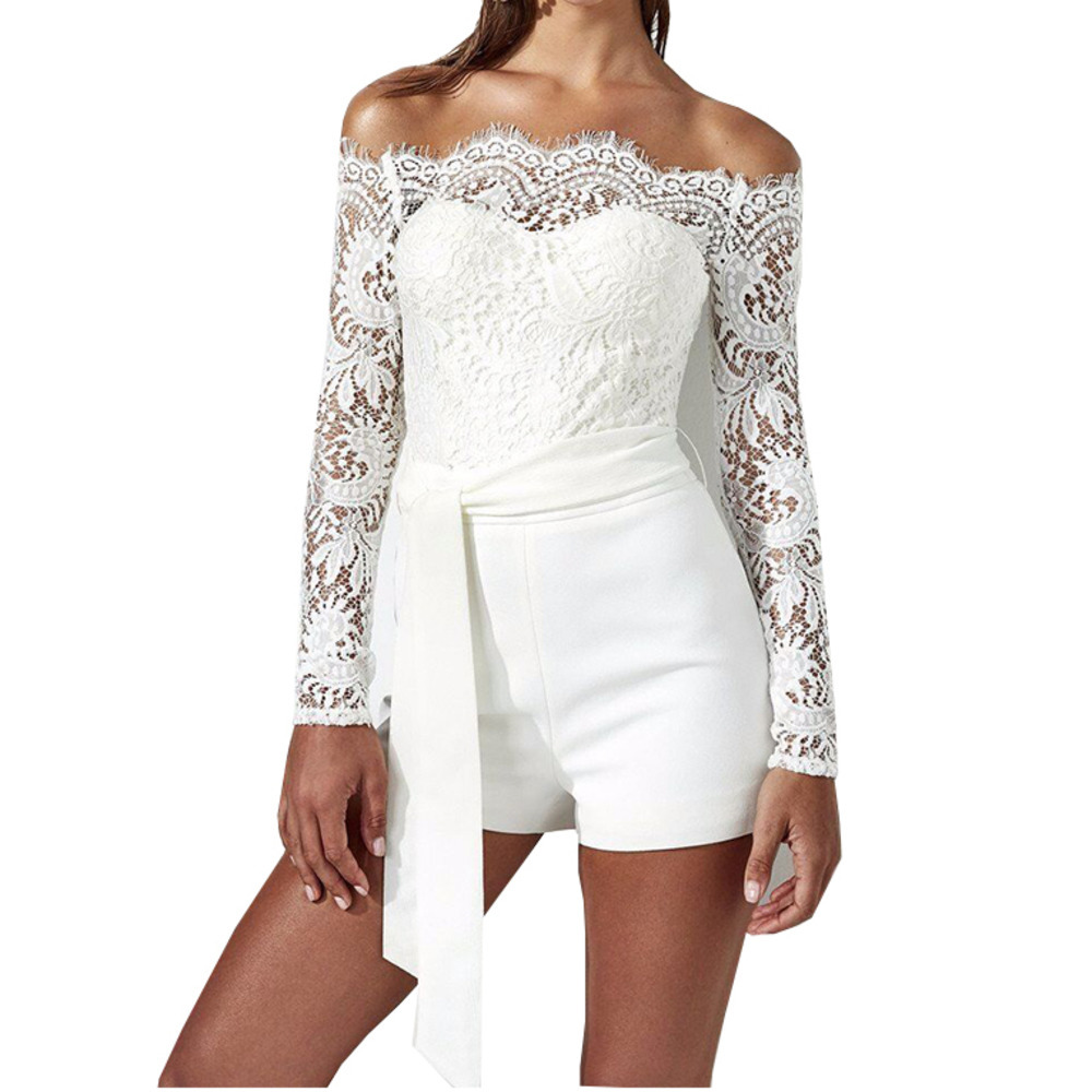 Loneyshow New Women Lace Strapless Jumpsuit Playsuit Women Clubwear Beach Party Short Romper Suit Sexy Mesh Overalls