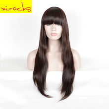 3132 Synthetic With Bang For Black Women Long Straight Dark Brown Cosplay Wig 80 Cm High Temperature Fiber Hair Wigs Xi.Rocks