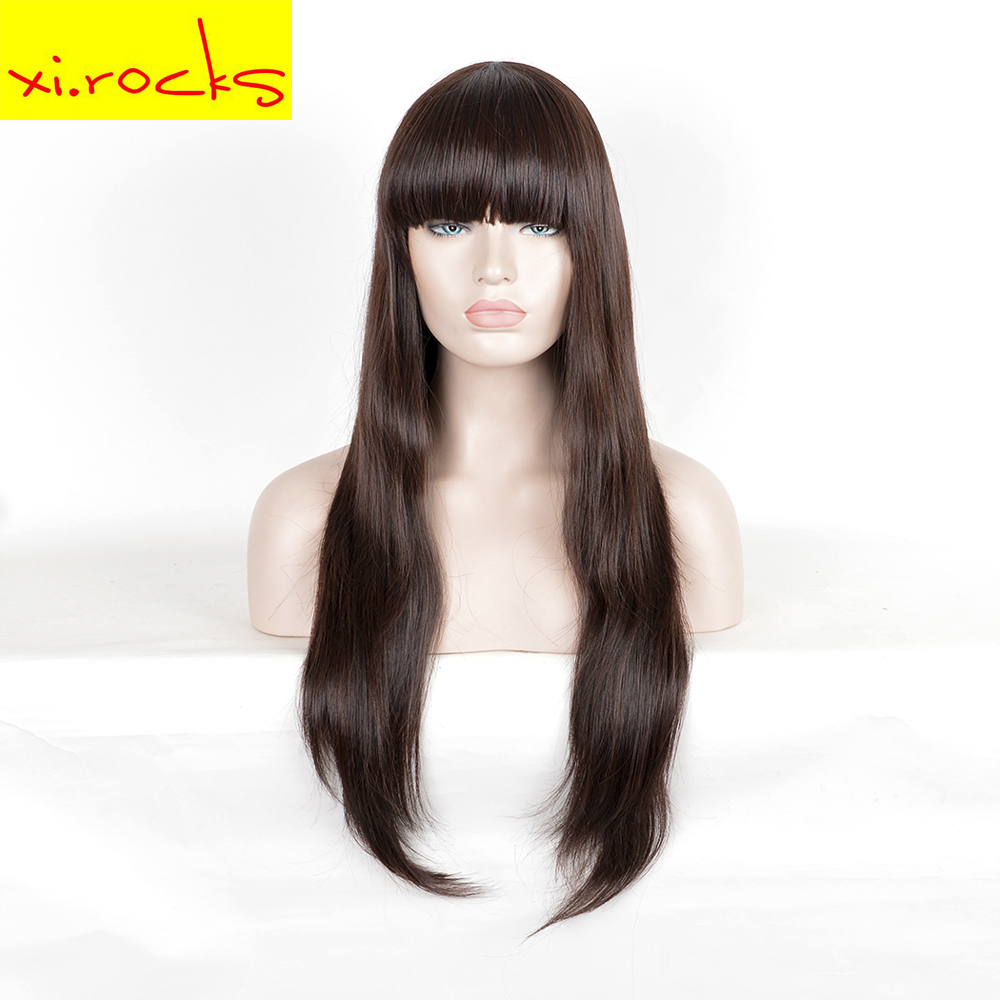 3132 Synthetic With Bang For Black Women Long Straight Dark Brown Cosplay <font><b>Wig</b></font> 80 <font><b>Cm</b></font> High Temperature Fiber Hair <font><b>Wigs</b></font> Xi.Rocks image