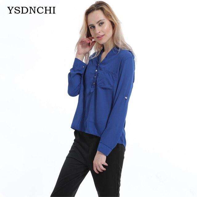 5e1dc0779 Mulheres verão Blusa Plus Size Chiffon Camisas Blusas Femininas Camisa  senhoras Blusas de Manga Comprida Sheer