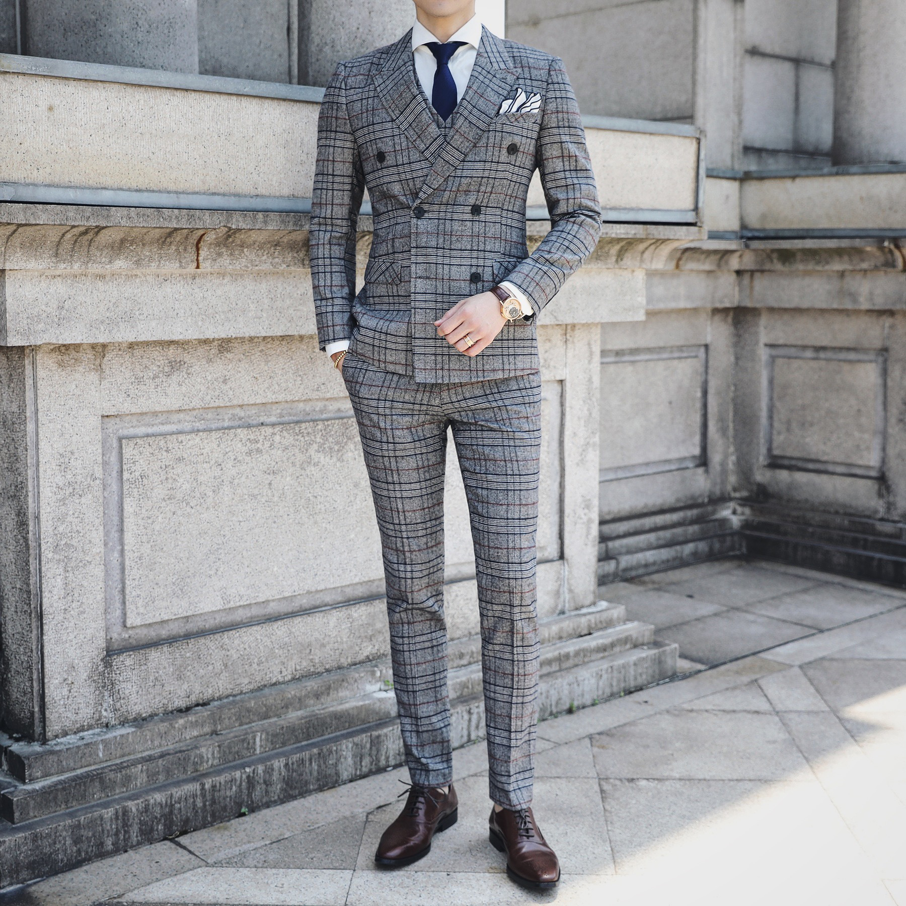 2019 Men's Autumn Color Suit New Plaid Double Breasted Suits Men's Three-Piece Slim Lapel Suit Men