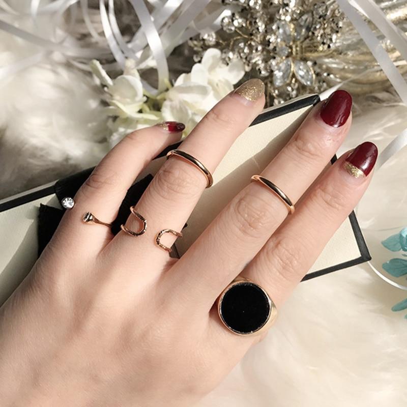 Rings For Women 5pcs/Set Vintage Punk Antique Zinc Alloy Gold Color Sliver Color Finger Ring For Women Fashion Jewelry Ring Set