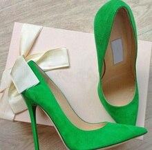 ที่ขายดีที่สุดสีเขียวสีชมพูสีหนังนิ่มผู้หญิงเท้าชี้ปั๊มชุดกระชับตื้นตัดใบบนรองเท้าพรรครองเท้าส้นกริช