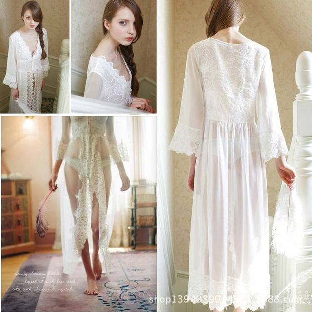 b88ee61c106 Clothes For Pregnant Women Beautiful Long Lace Cardigan Pajama Transparent  Nightdress Maternity Woman Photo Clothing fr40