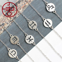 12pcs Fashion 925 Sterling Silver 12 Constellation Sign Pendant Simple Bracelet Silver Color Jewelry
